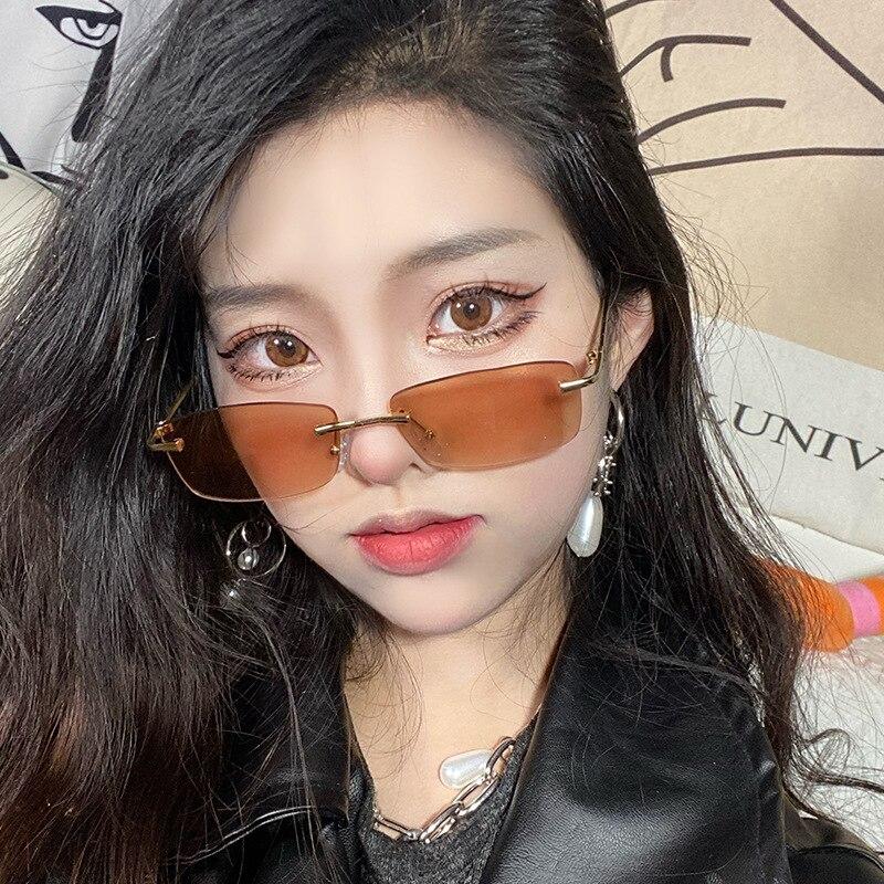 2021 New fashion Cut Edge Sunglasses Personality Retro Metal INS Square Ocean Piece Women Fashion Shades AS151
