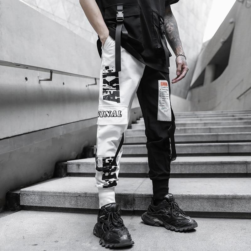 Men Multi-pocket Elastic Waist Harem Pant Men Streetwear Punk Hip Hop Casual Trousers Joggers Male Pants 2020 New Dropshipping