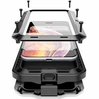 Противоударный бронированный металлический алюминиевый чехол для телефона iPhone 12 11 Pro XS MAX Mini XR X 7 8 6S Plus 5S SE, полный защитный чехол-бампер