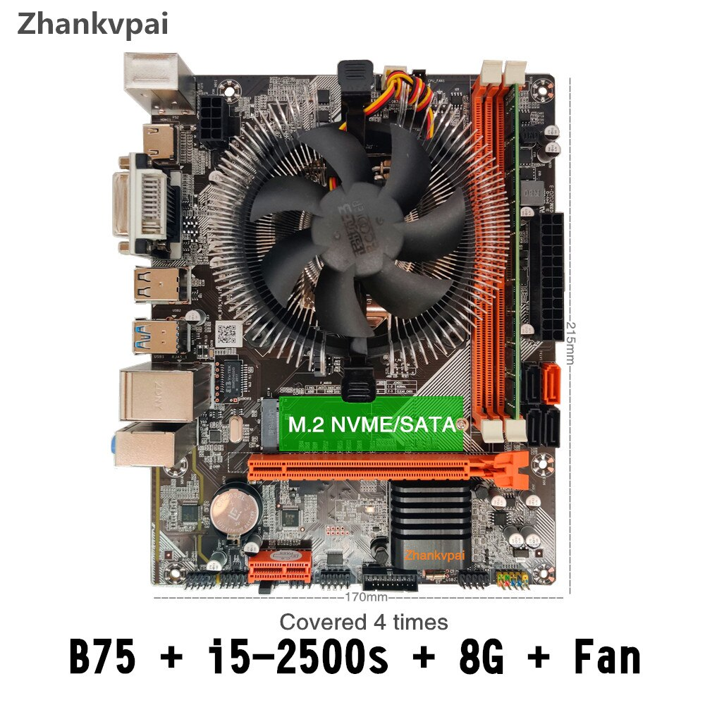 B75 LGA 1155 Motherboard set with Intel Core i5-2500S CPU 1Pcs*8GB 1600MHz DDR3+FAN Desktop Memory SATA III USB 3.0 VGA HDMI