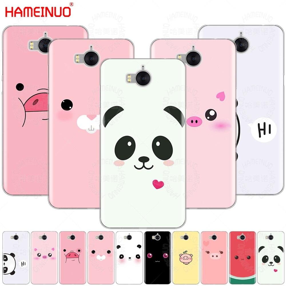 HAMEINUO lindo cerdo Panda sonrisa caso de la cubierta del teléfono celular para huawei honor 3C 4X 4C 5C 5X6 7 De Y3 Y6 Y5 2 II Y560 Y7 2017