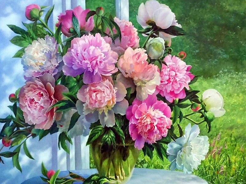 "100% 5D completo Diy Daimond pintura ""peonía"" 3D diamante pintura redonda Diamante de imitación pintura bordado flores"