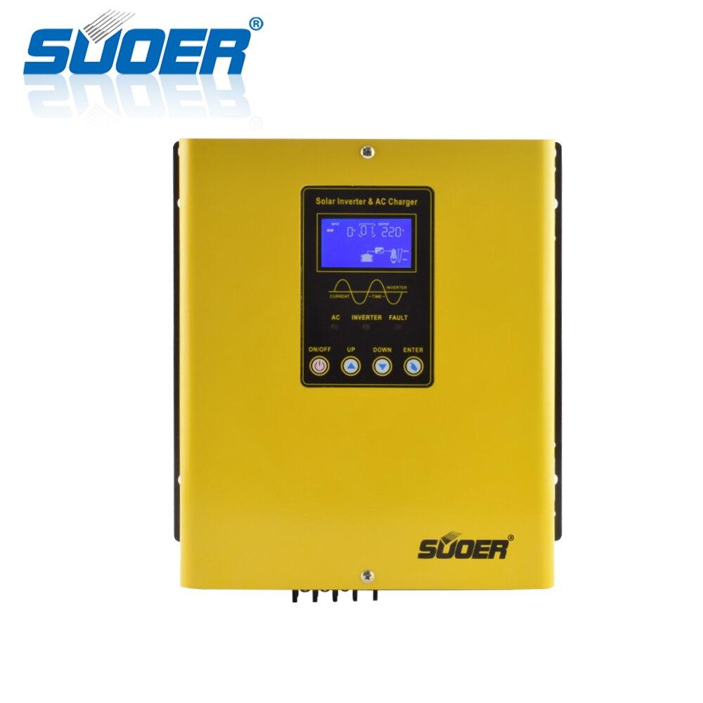 Suoer 1kva العاكس 12v إلى 220v 1000W خارج الشبكة الشمسية الهجين عاكس dc ac مع شاحن PWM تحكم
