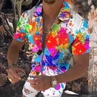 oil color gradient 3d print mens zip cardigan t shirt fashion upper body wear short sleeve zipper neckline top style