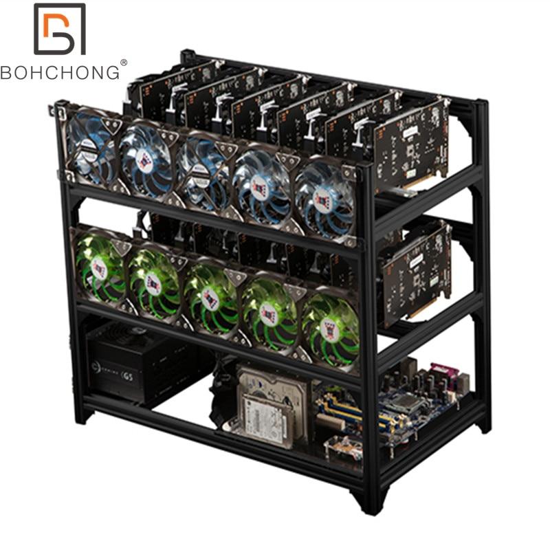 الأعلى مبيعًا 2 طبقة 12 وحدة معالجة الرسومات الألومنيوم تكويم الهواء الطلق التعدين مينر الإطار تلاعب