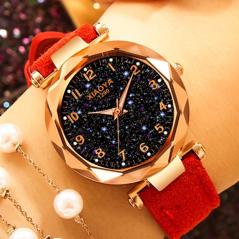 Exquisite Luxury Women Watches Fashion Dress Ladies Watch elegant Starry Sky Dial Leather Strap Quar