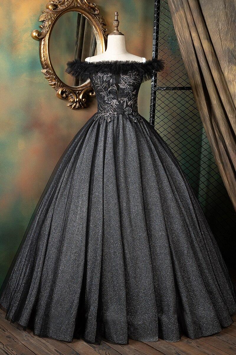 فستان حفلة أسود عتيق ، توتو ، ملكة داكنة ، أميرة/القرون الوسطى ، كرة فكتوريا ، عرض مسرحي ، حدث ، استوديو
