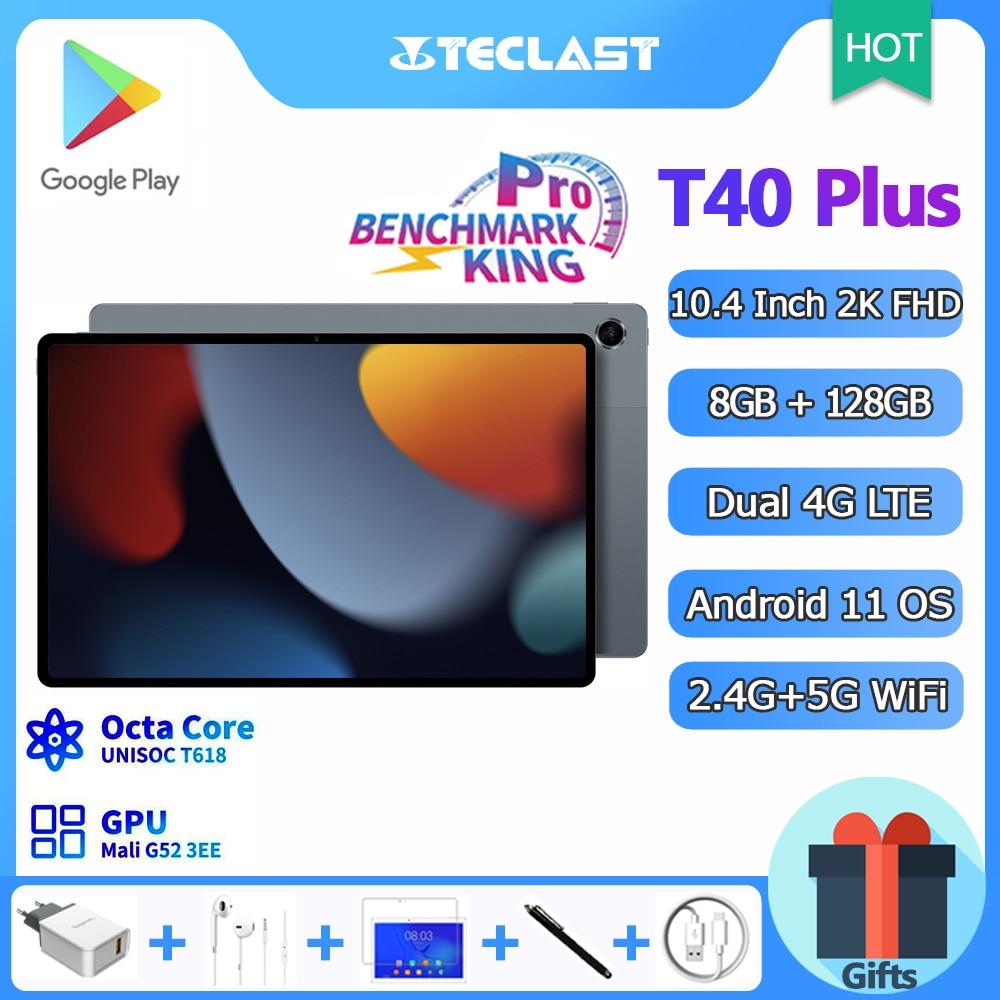 Teclast T40 Plus Tablet 10.4 Inch, Octa Core CPU, Android 11 OS, 8GB RAM 128GB ROM, 2000x1200 IPS, 4G LTE, 5G WiFi, GPS, Type-C