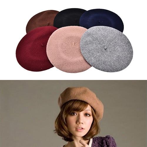 Fashion Women Vintage Winter Berets Hat Beret Beanie Gifts Wool Blend Pillbox Hat 6 Colors