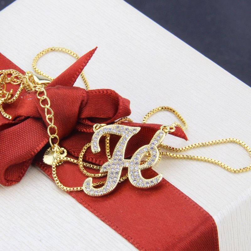 SUNSLL Fashion New Design Gold Copper Necklace White Cubic Zirconia Necklace Fe Letter Necklace wome