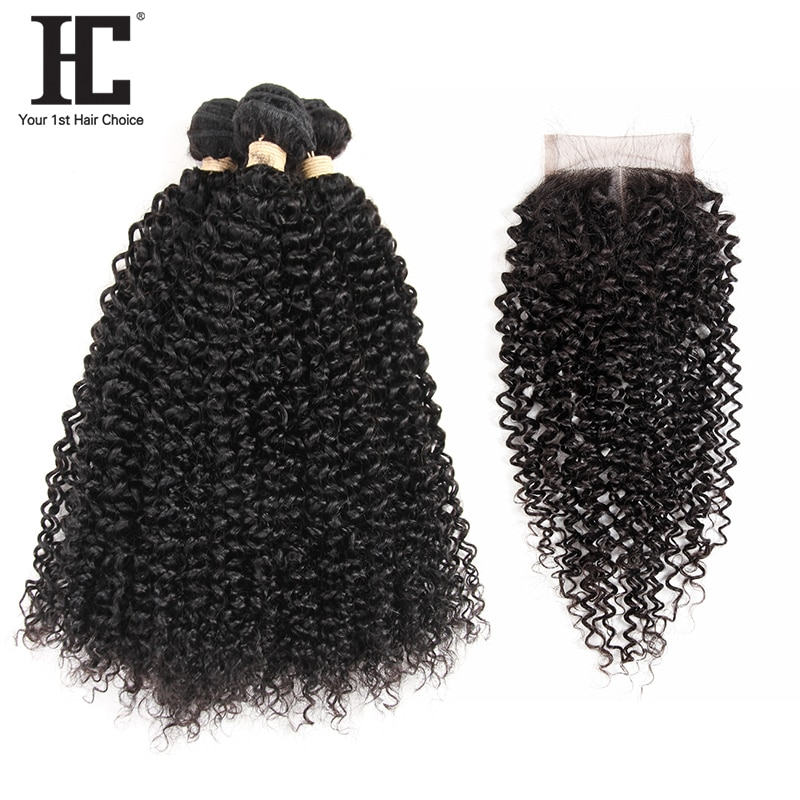 Brazilian Kinky Curly 3 Bundles Human Hair With Lace Closure Middle Part Non Remy Hair Weave Bundles With Lace Part Closure