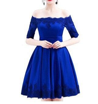 bridesmaid dresses satin applique off shoulder half sleeve A Line elegant dress women for wedding pa