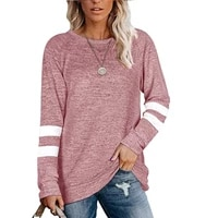 sweatshirts for women long sleeve o neck patchwork striped shirts tops loose casual hoodies fashion jackets coats