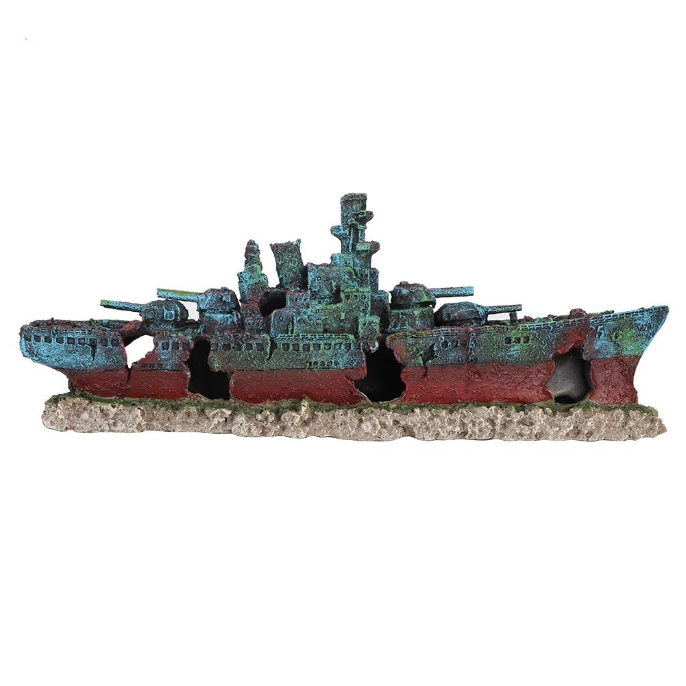 الراتنج حطام قارب غرقت سفينة حربية سفينة حوض للأسماك زينة حوض سمكي كهف الديكور