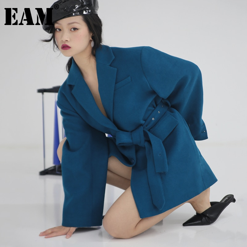 [EAM] Loose Fit Vintage Belt Oversized Blue Woolen Coat Parkas New Long Sleeve Women Fashion Tide Autumn Winter 2021 1DD2408