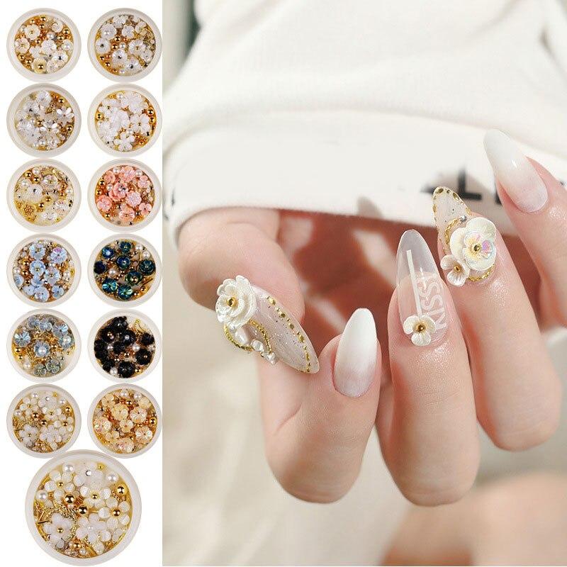 Разноцветные розы, цветок, украшение для ногтей, Стразы 3D, блестки, смешанные ювелирные украшения, драгоценные камни