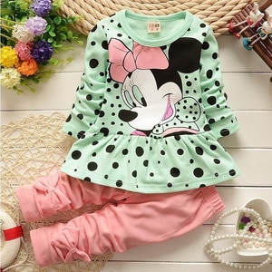 Spring Girls Clothes Kids Tshirt Legging Pants Sport Suit Baby Boy Girls Set Toddler Girl Clothing Suit Minnie Children Clothing