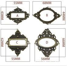 Porte-badge en fer Antique   Cadre détiquette en Bronze pour photo album photo scrapbook, porte-étiquette, accessoires de quincaillerie rétro pour meubles