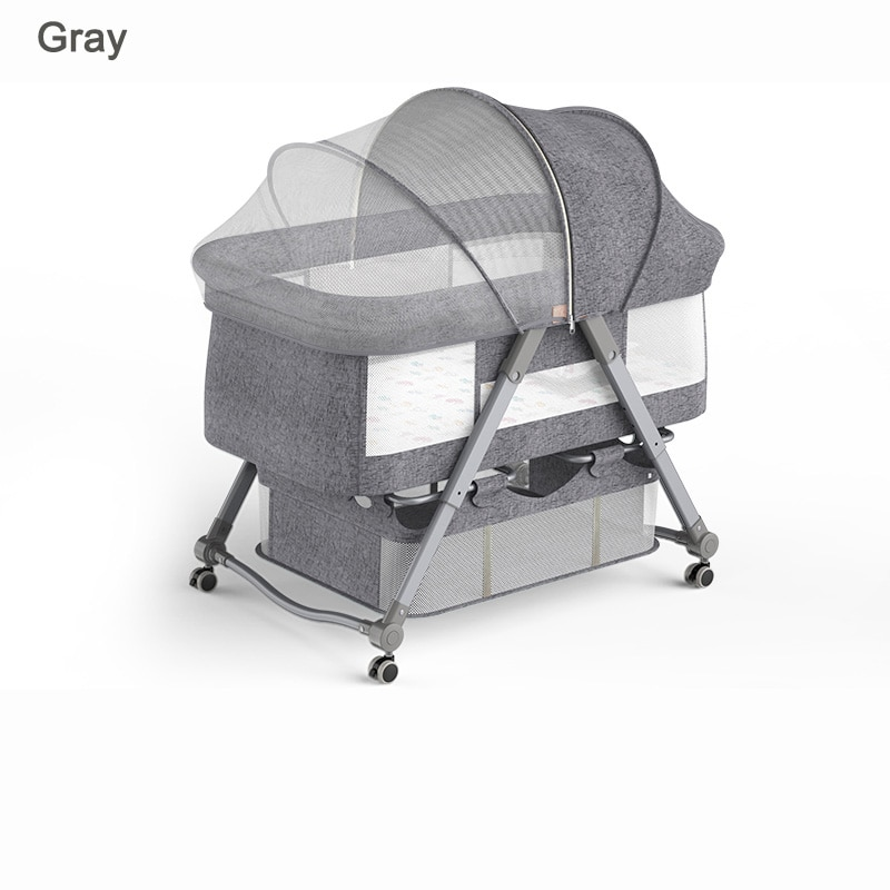 2 In 1 Mobile Baby Cribs Gray Baby Cot Cradle Baby Bassinet Game Beds with Mosquito Net Mattress for Newborn Toddler 0-36M