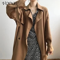 vodofcasual double breasted pocket womens mid length windbreaker spring and autumn full sleeves waist loose womens windbreaker