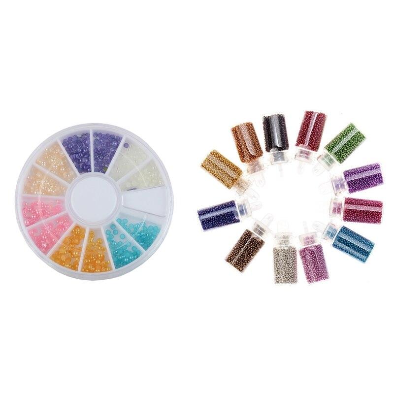 1 Uds 6 colores manicura perla corona diamantes de imitación puntas manicura decoración 3D Rueda y 12 Uds Kit de Arte de uñas Mini Caviar cuentas y arte de uñas