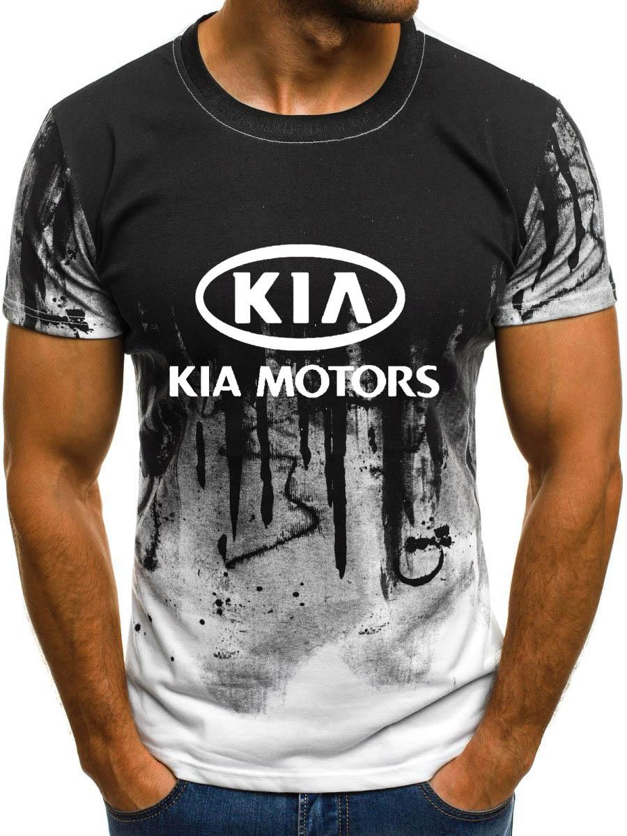 Camiseta para hombre de manga corta con logotipo de coche KIA para hombre de verano casual de algodón gradiente camisetas de moda Hip Hop Harajuku marca masculina tee