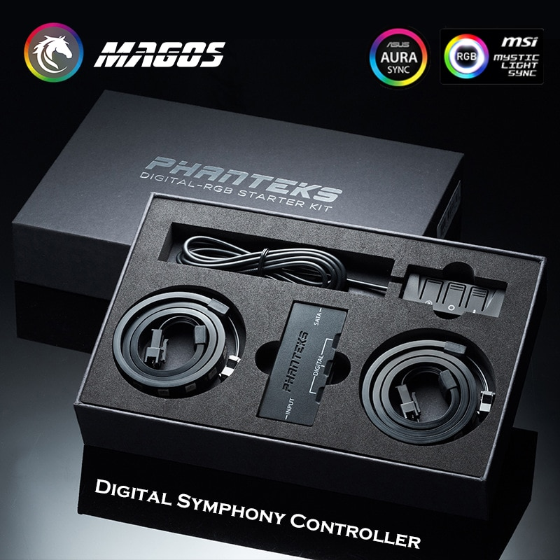 PHANTEKS الرقمية RGB LED كاتب عدة ، 1x عن بعد و 2x D-RGB LED شرائط ، دعم التحكم ASUS/MSI M/B