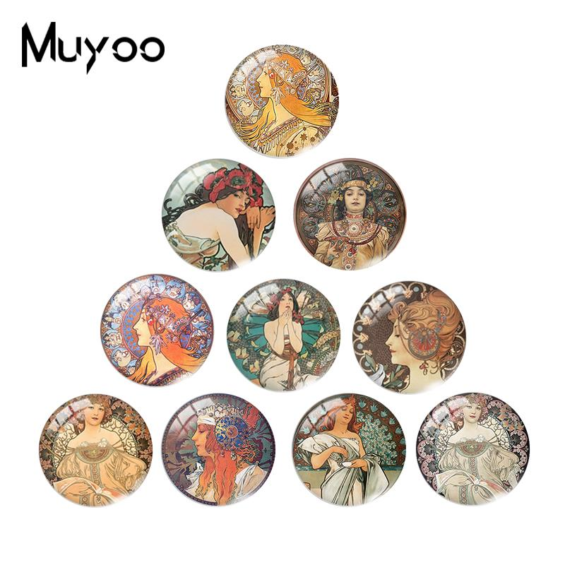2019 New Alphonse Mucha Glass Cabochon Colorful Painting Cabochons Art Round Handmade Jewelry