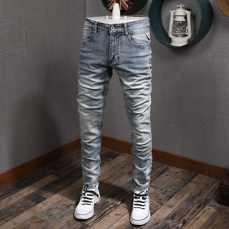 Italian Style Fashion Men Jeans Light Blue Slim Fit Elastic Vintage Classical Denim Pants Streetwear Designer