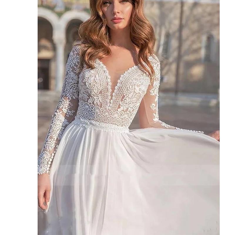 ChuYu 2021 Vintage Long Sleeve V Neck Appliqued Chiffon Floor Length Vestido De Novia  A-line Wedding Dress Formal Occasion