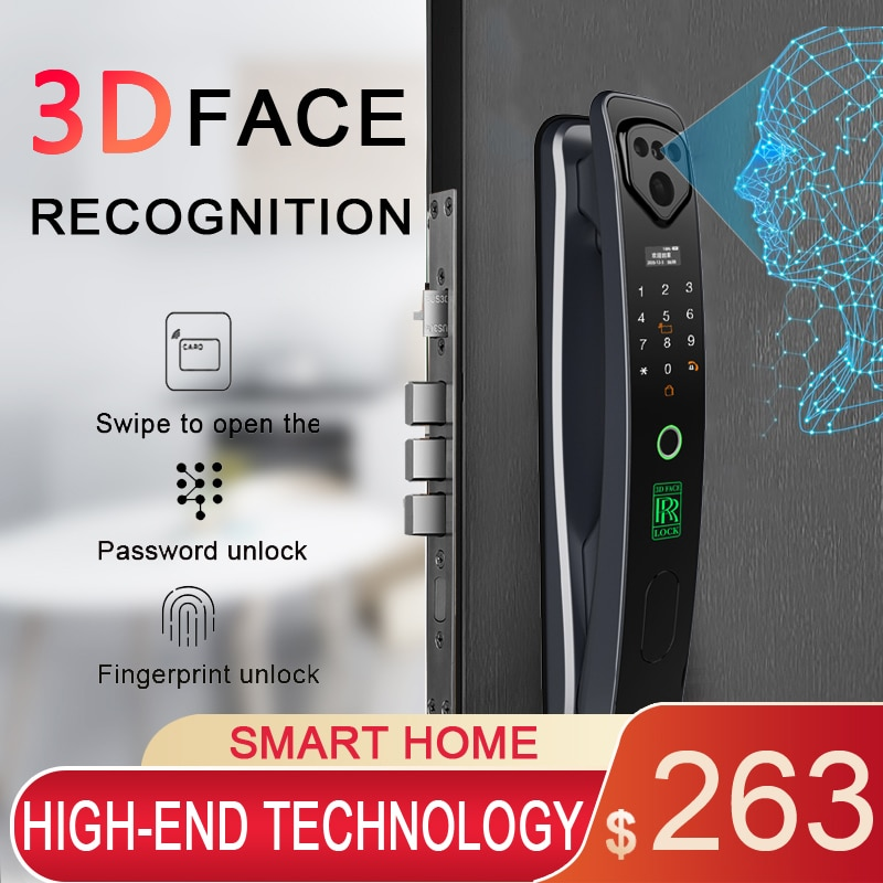 Фото - 3D Infrared Face Recognition Mobile Phone Unlock With Camera Fingerprint Magnetic Card Password Home Electronic Smart Door Lock xiaomi mijia smart door lock pro 1080 hd quality ultra wide angle camera fingerprint password nfc unlock homekit