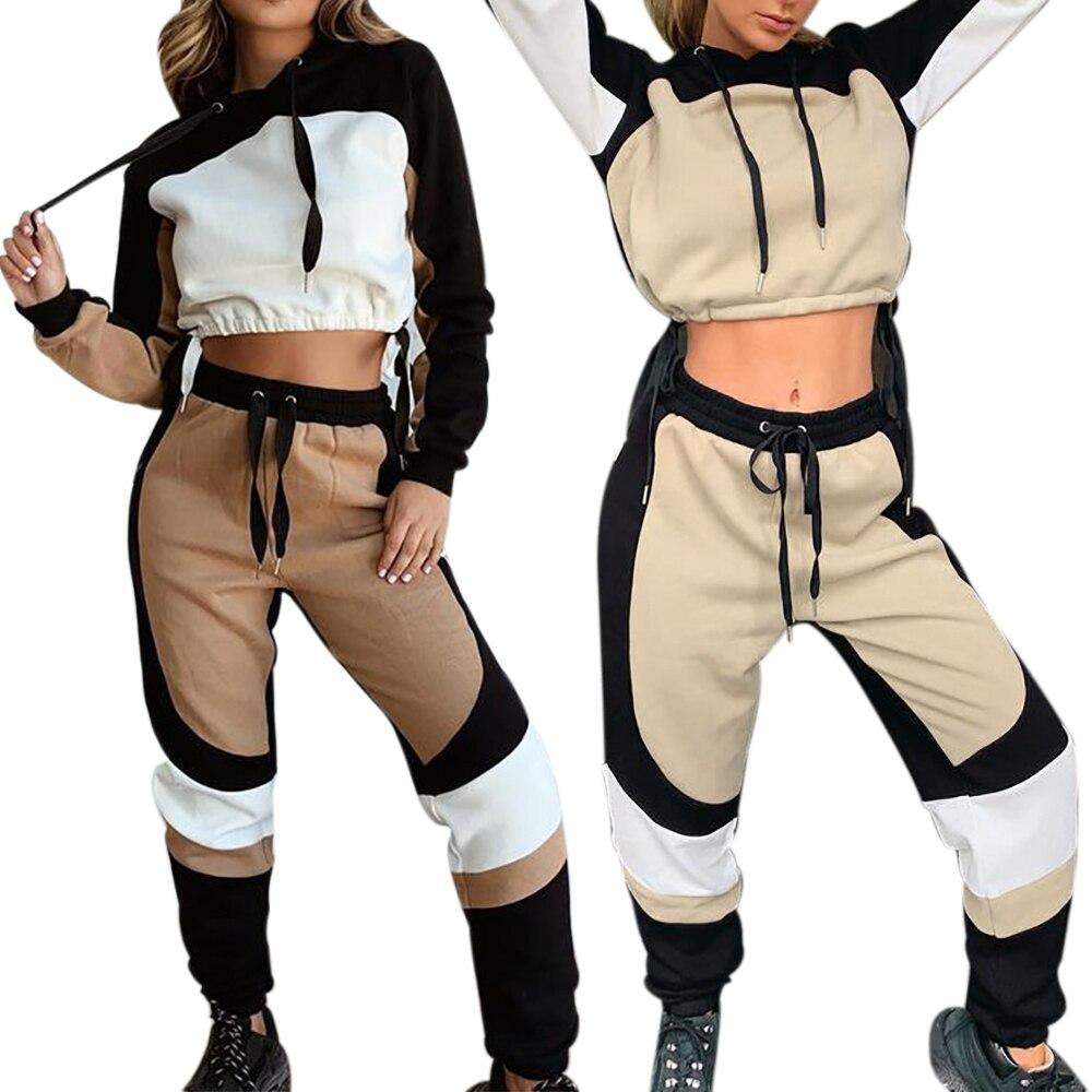 Conjunto de 2 uds para correr para mujer 2020, chándal de moda a rayas con capucha, ropa de entrenamiento, sudaderas holgadas informales, trajes de Joggers, ropa deportiva