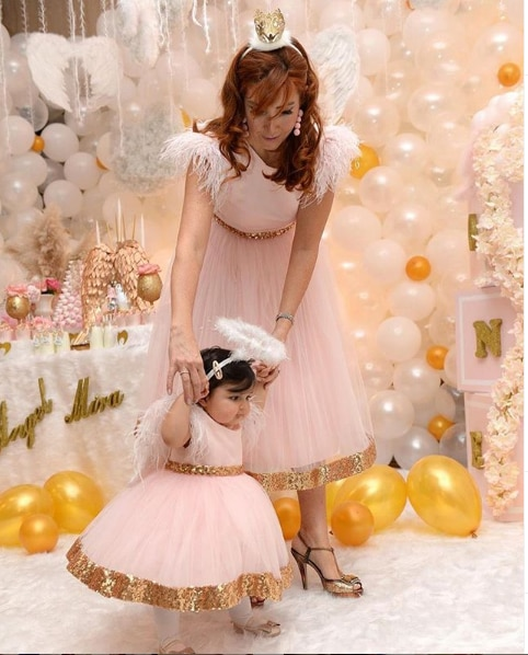2020 Mother Daughter Dresses First Communication Kid Dresses Pink Dresses With Golden Sequin Party Dresses