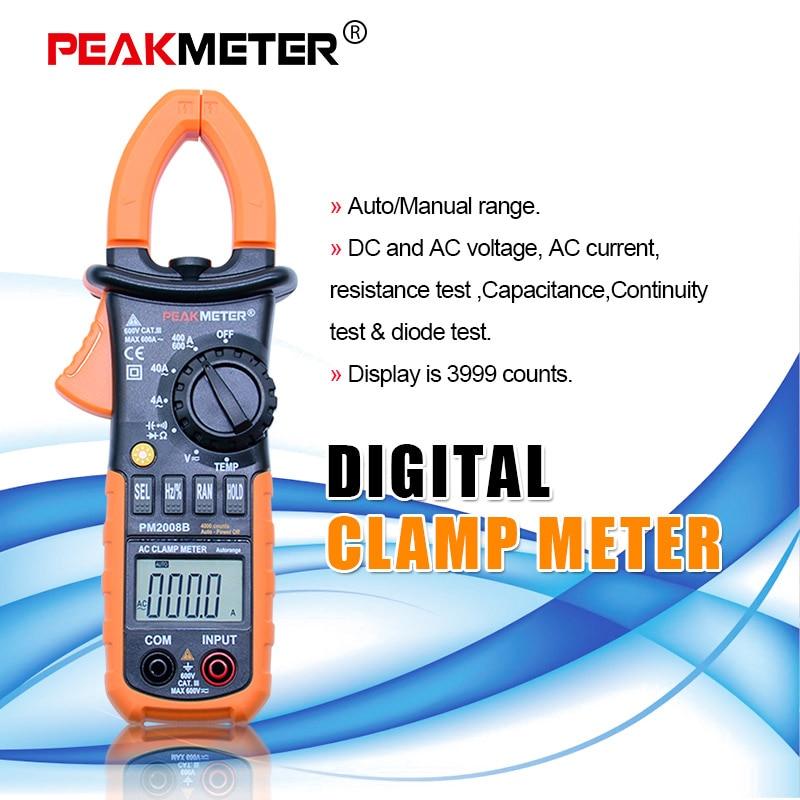 PEAKMETER 3 3/4 Digital pinza amperimétrica AC 4000 cuenta w/luz de fondo AC DC Tensión de resistencia de la capacitancia + diodo de PM2008B
