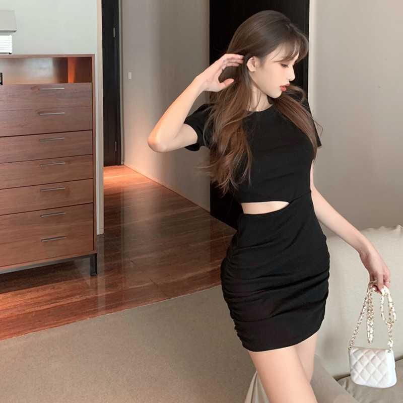 Sneaky Design Midriff Outfit Elegant Dress for Women 2021 Spring New Korean Style Skinny Slimming Se