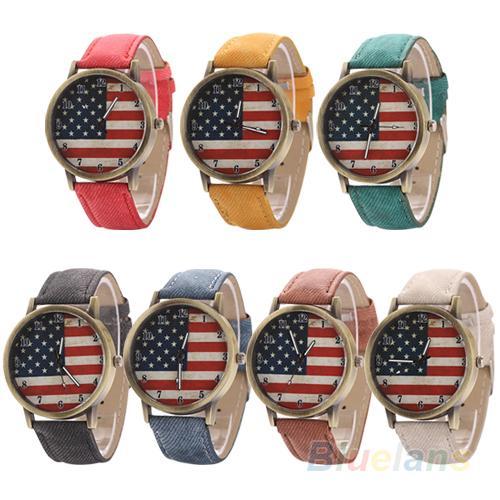 Unisex Vintage United States Flag Dial Denim Band Quartz Analog Wrist Watch Fashion watch for lovers