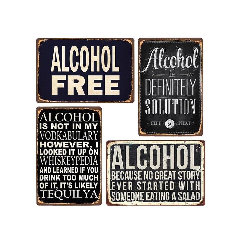 Vintage Beer Alcohol-Plaque Metal Tin Signs Funny Plates Bar Pub Club Man Cave Wall Decoration Home Decor 20x30cm
