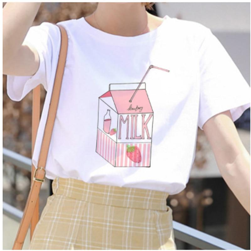 Leche jugo Japanses estético Grunge Cute Cartoon T shirt mujeres Harajuku Kawaii blanco verano Casual Tumblr Outfit moda camiseta