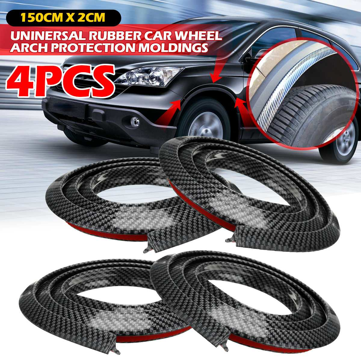4 / 2 PCS Universal Rubber Car Mudguard Wheel Arch Protection Moldings Carbon Black 1.5x2CM Anti-collision Strip Stickers