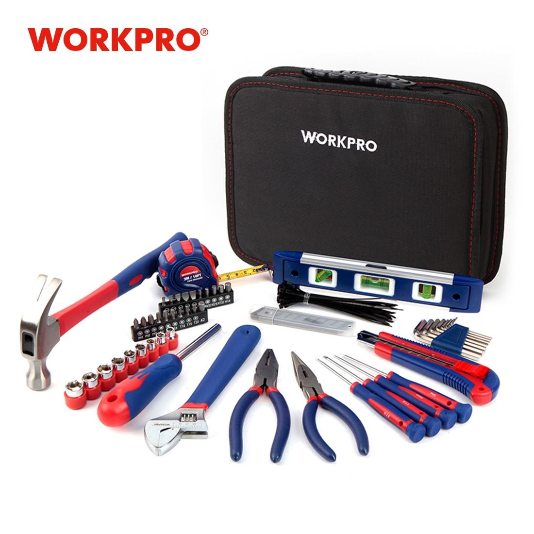 طقم أدوات منزلية من WORKPRO مكون من 100 قطعة طقم أدوات ميكانيكي للمطبخ مزود بكماشة ومفكات ومفاتيح ومفكات ومشادات سكين للمطرقة
