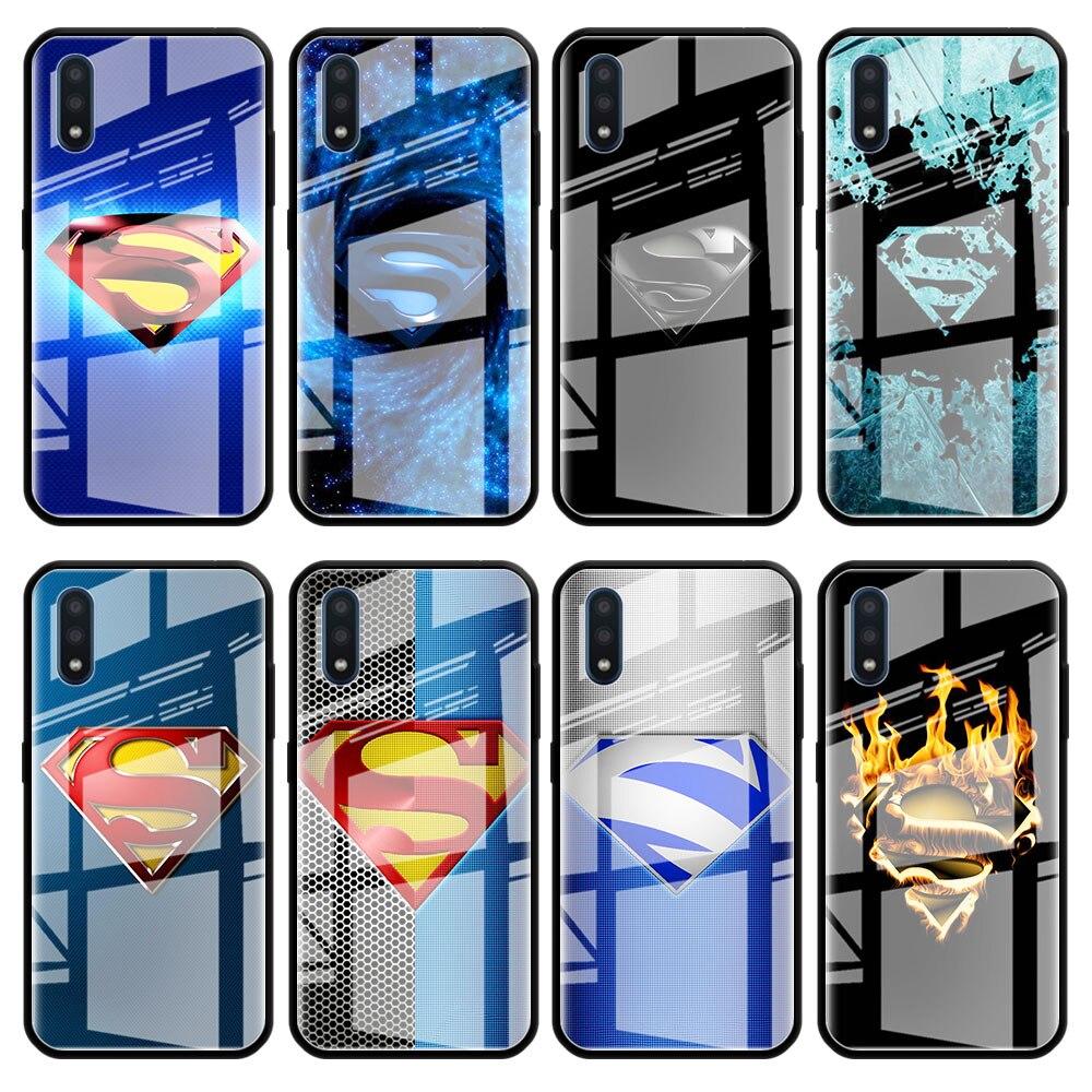 Funda de vidrio templado para teléfono para Samsung Galaxy A20 A30 A40 A50 A70 A51 A71 A81 A91 A01 M31 A10 cubierta Marvel Logo de superman