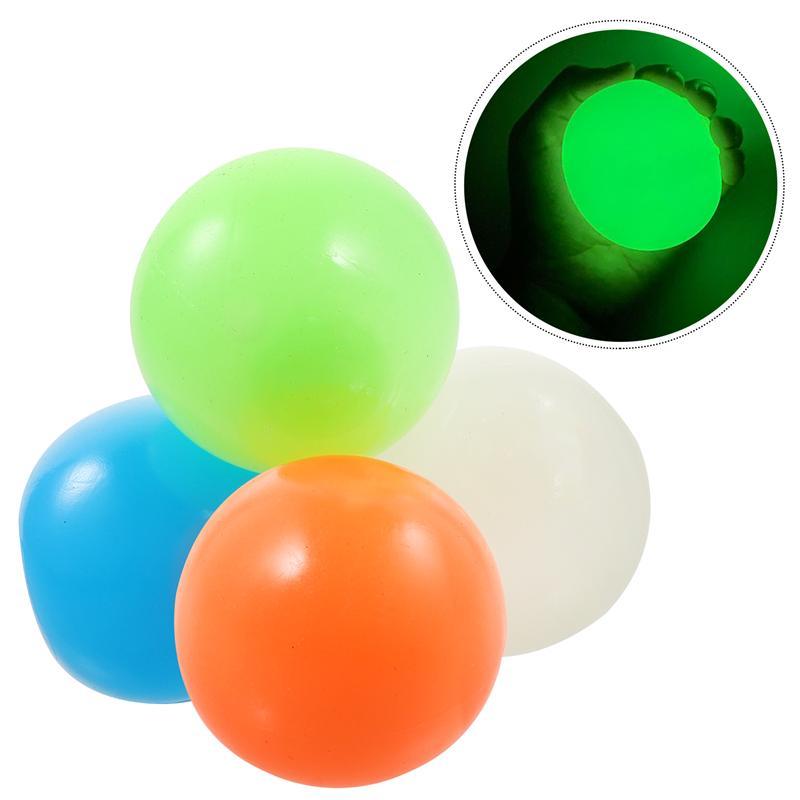4 pces 45mm pegajoso bola fluorescente descompressão estresse bola brinquedo para o teto diversão pegajoso alvo bola bola extrusão bola luminosa