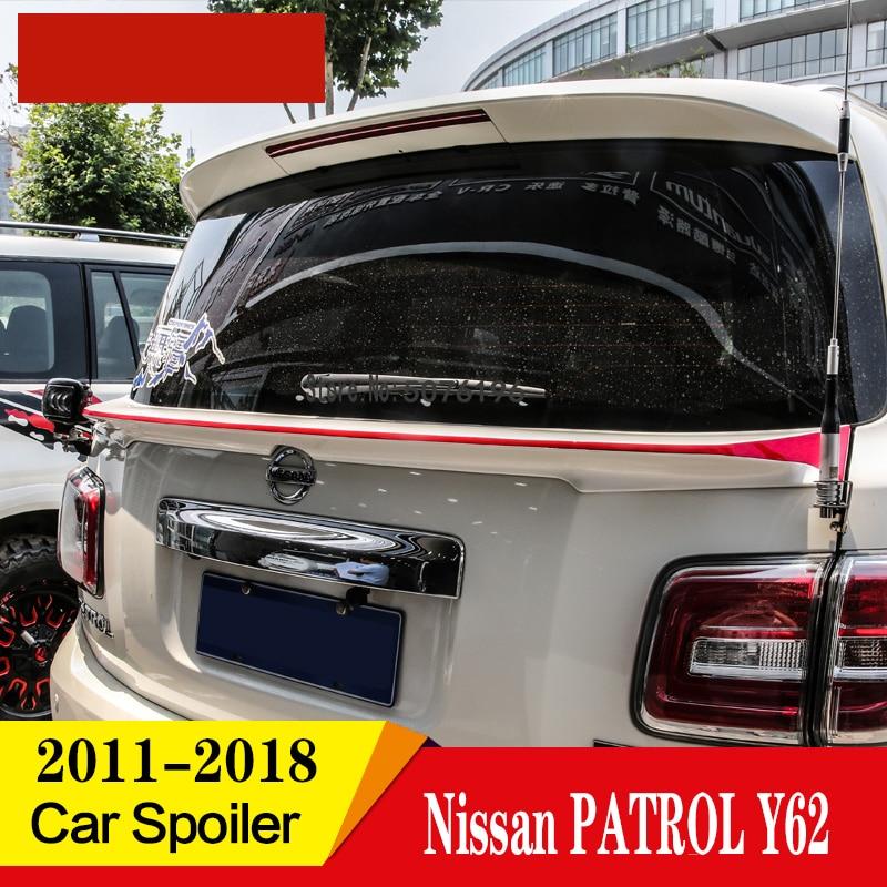 Accesorios para coche alerón de ala trasera del maletero de Color blanco y negro de plástico ABS para automóvil 1 Uds. Para la patrulla Nissan Y62 2011-2018