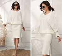 hip dress casual warm midi dresses knitted autumn spring fall women long full sleeve woolen ladies female work office round neck