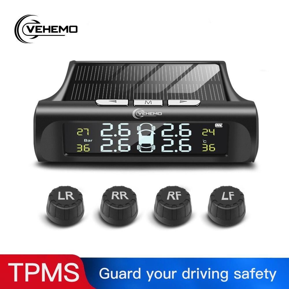 Sensor de presión de neumáticos TPMS para coche con carga Solar Android indicador de alarma de Sistema de control de presión de neumáticos Digital 2 uds Sensor externo