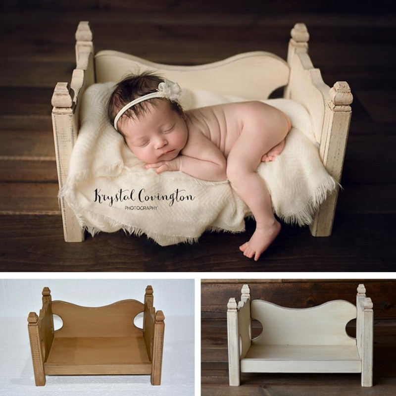 Baby Photography Accessories Wood Hollow Curved Bed Newborn Photo Shoot Props For Kids Boy Girl Fotografia Wooden Chair Counch