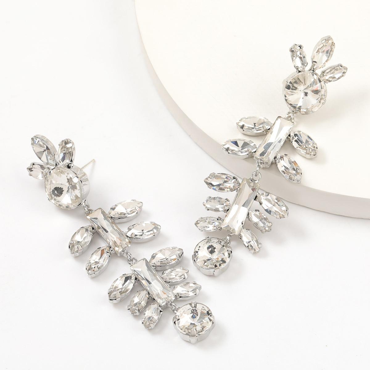 2021 nova exagerada metal strass flor balançar brincos populares festa criativa jóias acessórios femininos