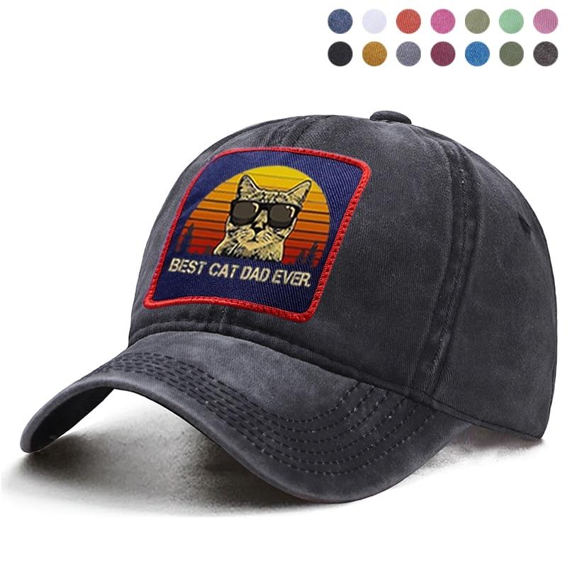 Mejor Gato Papá siempre gafas de sol gato gorra de béisbol papá camionero sombrero liso coleta mujer Boinas casquete hueso sombreros