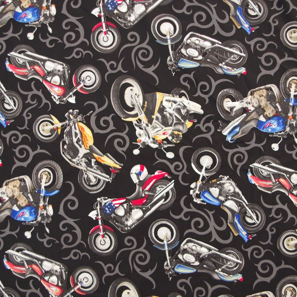 1 yard Cotton poplin Fabric, Motocycle  (width=140cm)