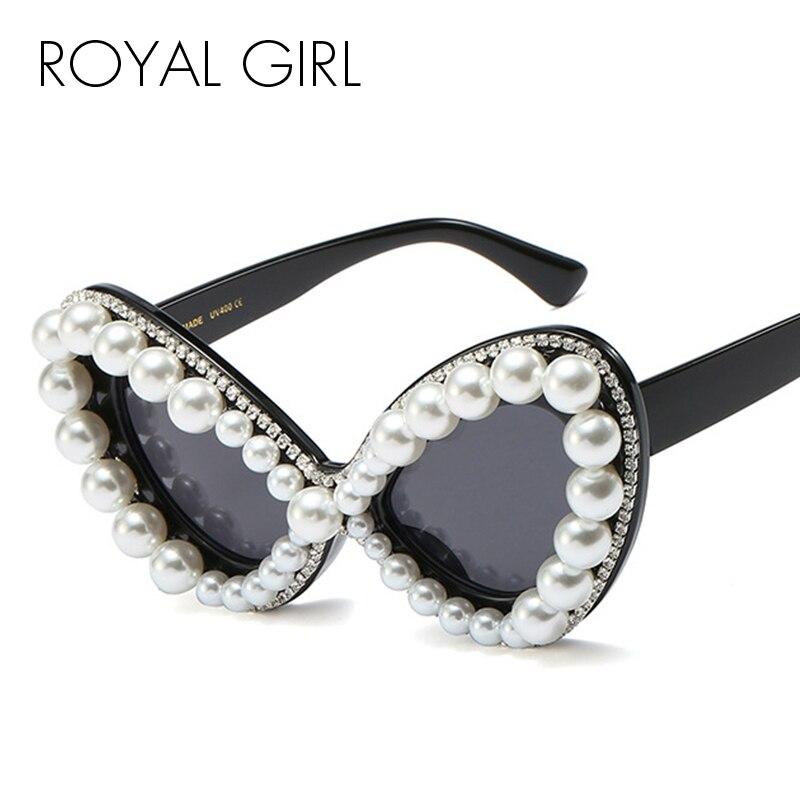 Royal Meisje 2020 Nieuwe Mode Vlinder Parel Diamanten Zonnebril Vrouwen Luxe Merk Vintage Zonnebril Cat Eye Brillen Ss675